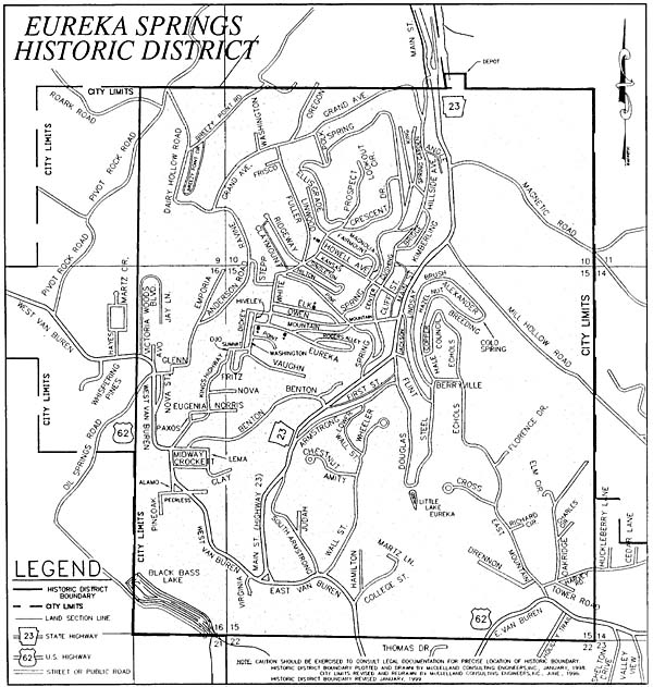 City Of Eureka Springs Historic District Map